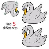 Swan 5 differences. Vector illustration of kids puzzle educational game Find 5 differences for preschool children with swan cartoon character stock illustration