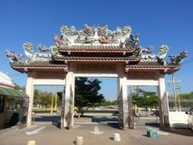 Swan and Dragon statue on the roof the main gate Chinese temple Stock Photography