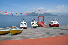 Swan or Duck boats at Lake Toya Royalty Free Stock Image