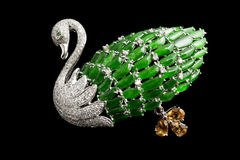 Free Swan Emerald Diamond Inlaid Jade Crafts Stock Photography - 59386832