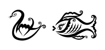 Swan and fish. Pure black lines of graceful swan and coquettish fish Stock Images