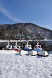 Swan fun boats on lake Chuzenji, lake shore in win Stock Photos