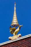 Swan gable apex in Thai temple with blue sky Royalty Free Stock Photos