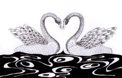 Swan heart sketch. On paper Stock Photos