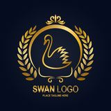 Swan icon design template. Golden swan and laurel wreath in round frame vector illustration