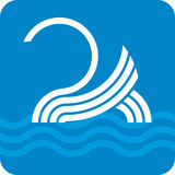 Swan icon (vector). Simple illustration of swan icon in blue and white, stripped Royalty Free Stock Photo