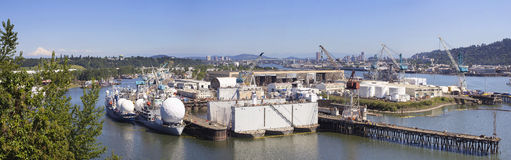 Swan Island Shipyard Panorama Royalty Free Stock Images