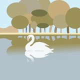 Swan on a lake. Vector art Royalty Free Stock Photography