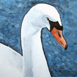 Swan Lake. Impressionist painting of a swan on the lake Stock Photos