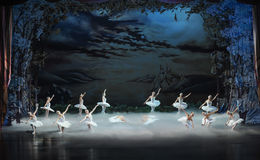 Swan Lake in the evening-ballet Swan Lake Royalty Free Stock Image