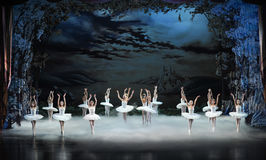 Swan Lake in the evening-ballet Swan Lake Royalty Free Stock Images