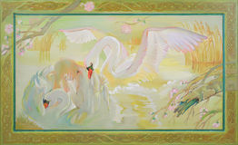Swan Lake. Fantasy fairyland landscape with dreaming girl and swans. Oil painting on wood. Stock Photos