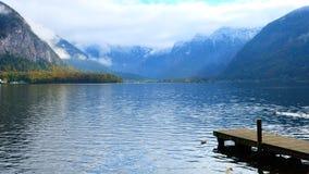 Swan Lake in Hallstatt. Peaceful Swan Lake in Autumn stock photos