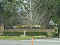 Swan Lake Iris Gardens signage stock photo