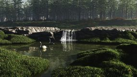 Swan Lake with Waterfall Stock Image