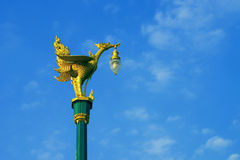 Swan lamp. Golden swan lamp on electricity in Thailand Royalty Free Stock Photography