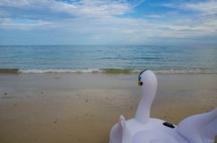 Swan life ring on beach. And sea stock image