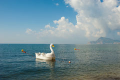 Swan pedal boat. A fancy swan paddle boat waiting for someone to have fun Stock Photo