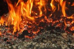 Swan plant. Coal fire inside steam boiler Royalty Free Stock Image