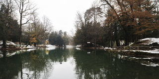 The swan pond. A little pond placed into the Park of Monza, Italy. In the background an old yellow temple royalty free stock images