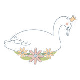Swan Princess with Flowers Royalty Free Stock Photos