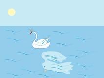 Swan Princess tale lake gir Royalty Free Stock Image