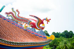 Swan on the roof of Chinese temple Pattaya Thailand. Dragon on the roof, Chinese temple at Pattaya Thailand Royalty Free Stock Photos