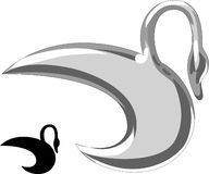 Swan silver. The vector abstract image of a swan executed as silver moulding Vector Illustration