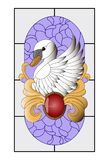 Swan stained glass, mosaic pattern with red pendant, gold curves and purple background. royalty free illustration