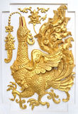 Swan statue on the wall in Thai temples. Swan statue on the wall in Thai temples,Thai style molding art Royalty Free Stock Photo