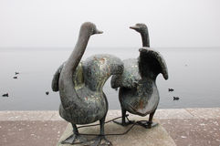 Swan Statue in Zug stock images