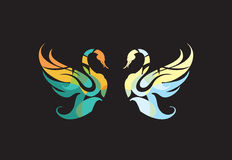 Swan-swan. Picture of two angels, men and women. love, spirituality royalty free illustration