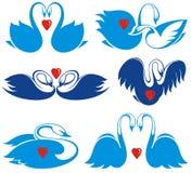 Swan symbol set Royalty Free Stock Image