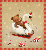 Swan and Teddy bear Stock Images