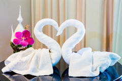 Swan Towel. And hotel decoration Stock Photography