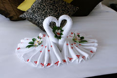Swan towels Stock Photography