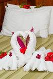 Swan towels Stock Images