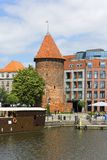 Swan Tower, 15th century fortification, Gdansk, Poland. GDANSK, POLAND - JUNE 5, 2018: Swan Tower, 15th century fortification on the Motlawa River, Main Town Stock Photos