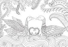 swan två royaltyfri illustrationer