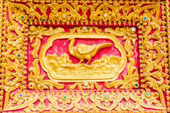 Swan Wall sculpture in Thai temple Royalty Free Stock Photography