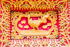 Swan Wall sculpture in Thai temple Stock Photo