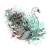 Swan watercolor, abstract graphic colored bird, print. Stock Photo