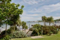 Swanage的海滩庭院 库存照片