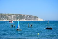 Swanage bay and cliffs. Royalty Free Stock Photography