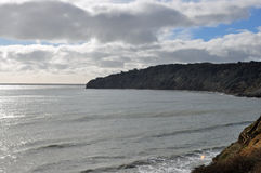 Swanage Bay view from cliff. On a cold windy day Royalty Free Stock Photography