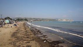 Swanage beach Dorset England UK sea waves and and coast stock footage