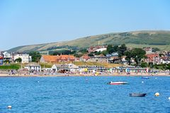 Swanage beach and town. Royalty Free Stock Photos
