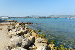 Swanage coastal view towards the pier harbour and jetty Dorset England UK Royalty Free Stock Photo