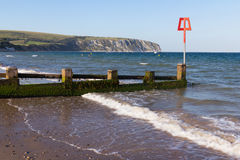 Swanage Dorset England. Groynes on the beach at Swanage Dorset England UK Stock Image