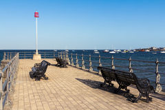 Swanage Dorset England. Seating on the pier at Swanage Dorset England UK Royalty Free Stock Photography